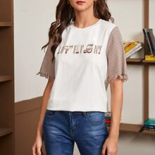 Letter Graphic Fringe Cuff Plaid Sleeve Top