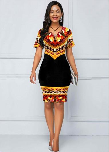 Black Dresses Split Neck Short Sleeve Tribal Print Dress - S