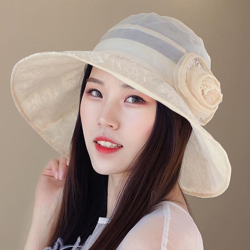 Women Foldable Flower Summer Sunscreen Thin Hat Outdoor Travel Beach Bucket Cap