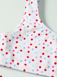 Girls Polka Dot One Shoulder Bikini Swimsuit