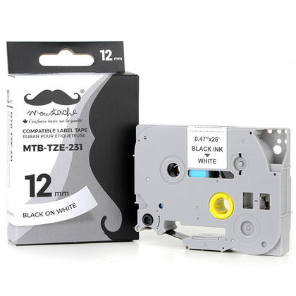Compatible Brother TZe-231 Label Tape for P-Touch, Black on White, 0.47 in x 26.2 ft (12mm x 8m) - Moustache Brand