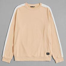 Pullover mit seitlicher Naht und Flicken Detail