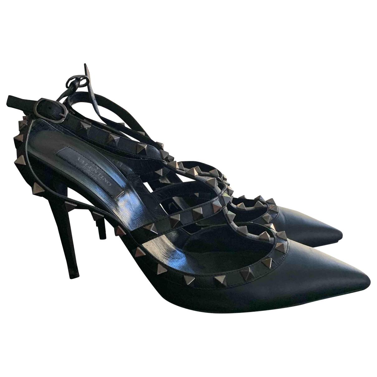 Valentino Garavani Rockstud Black Patent leather Heels for Women 41 EU