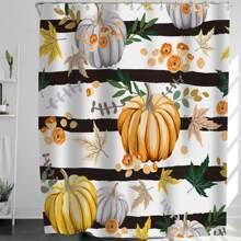 Duschvorhang mit Halloween Tuerkis Muster und 12 Haken