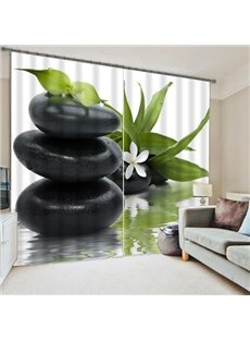 3D Beautiful Flowers and Stacked Pebbles Stones Printed Custom 2 Panels Floral Curtain