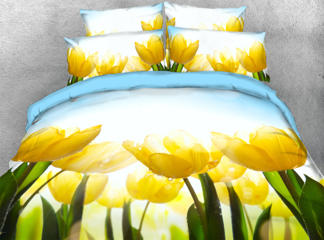 Yellow Tulip 3D Pastoral Style Zipper Duvet Cover 4-Piece Soft Floral Bedding Sets with Corner Ties
