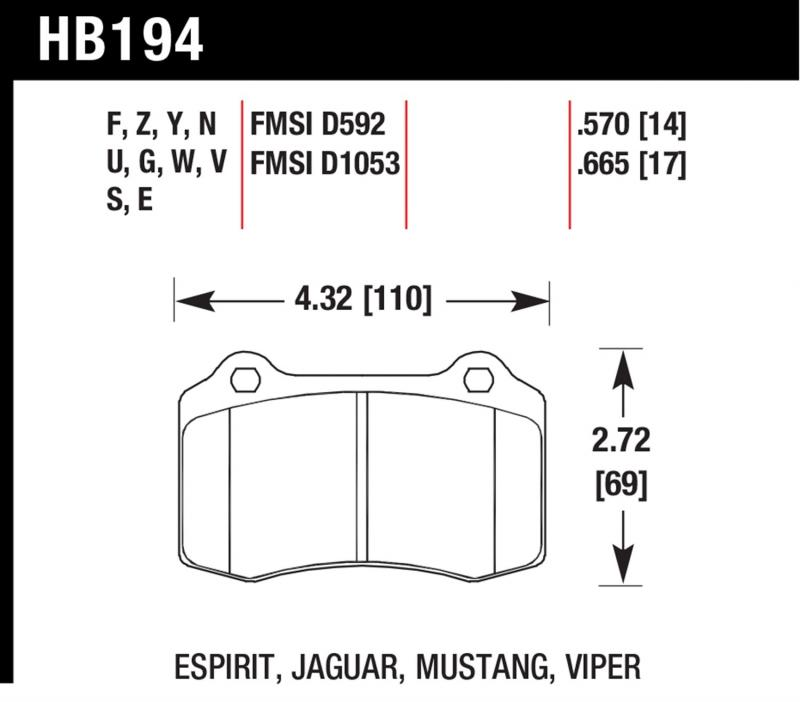 Hawk Performance HB194Z.570 Disc Brake Pad