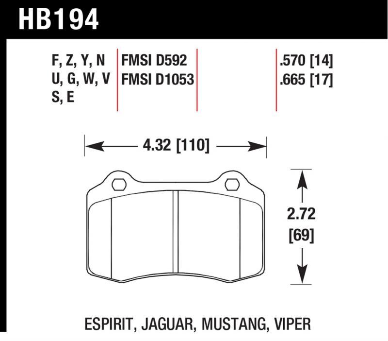 Hawk Performance HB194V.665 Disc Brake Pad Front