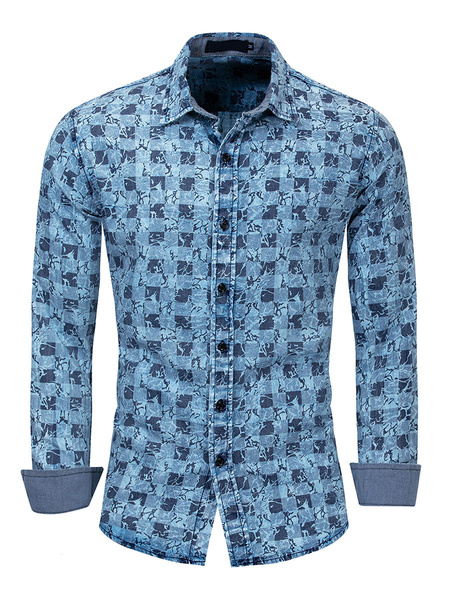 Milanoo Men\s Regular Fit Denim Artwork Plaid Shirt In Blue