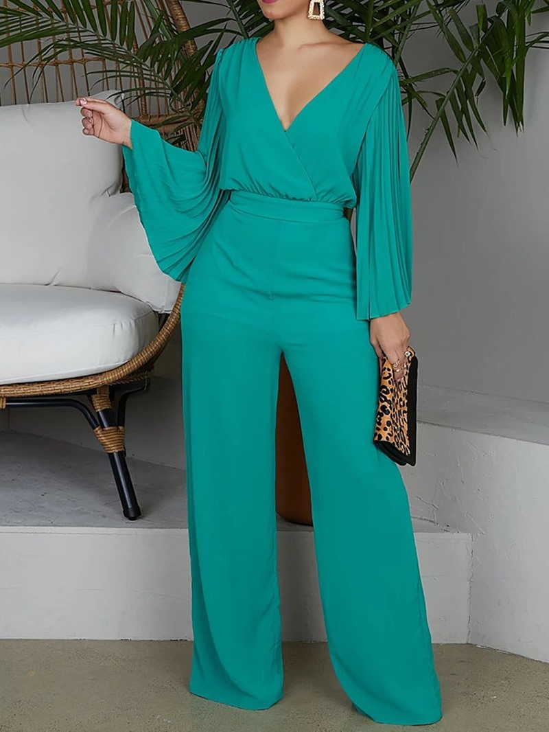Ericdress Full Length Lace-Up Pleated Plain High Waist Slim Jumpsuit