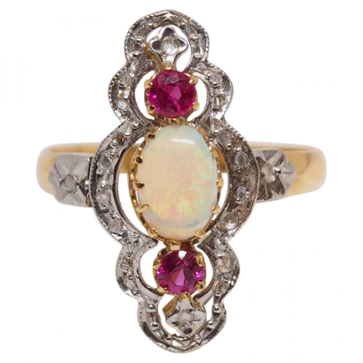 - Bague Opale pour femme en or jaune - multicolore