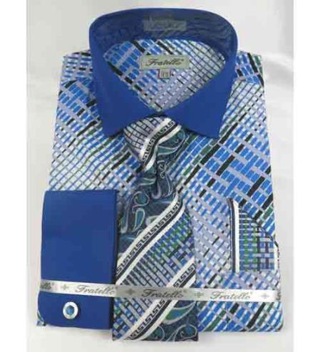 Mens Multi Pattern French Cuff With Collar Cotton Blue Dress Shirt