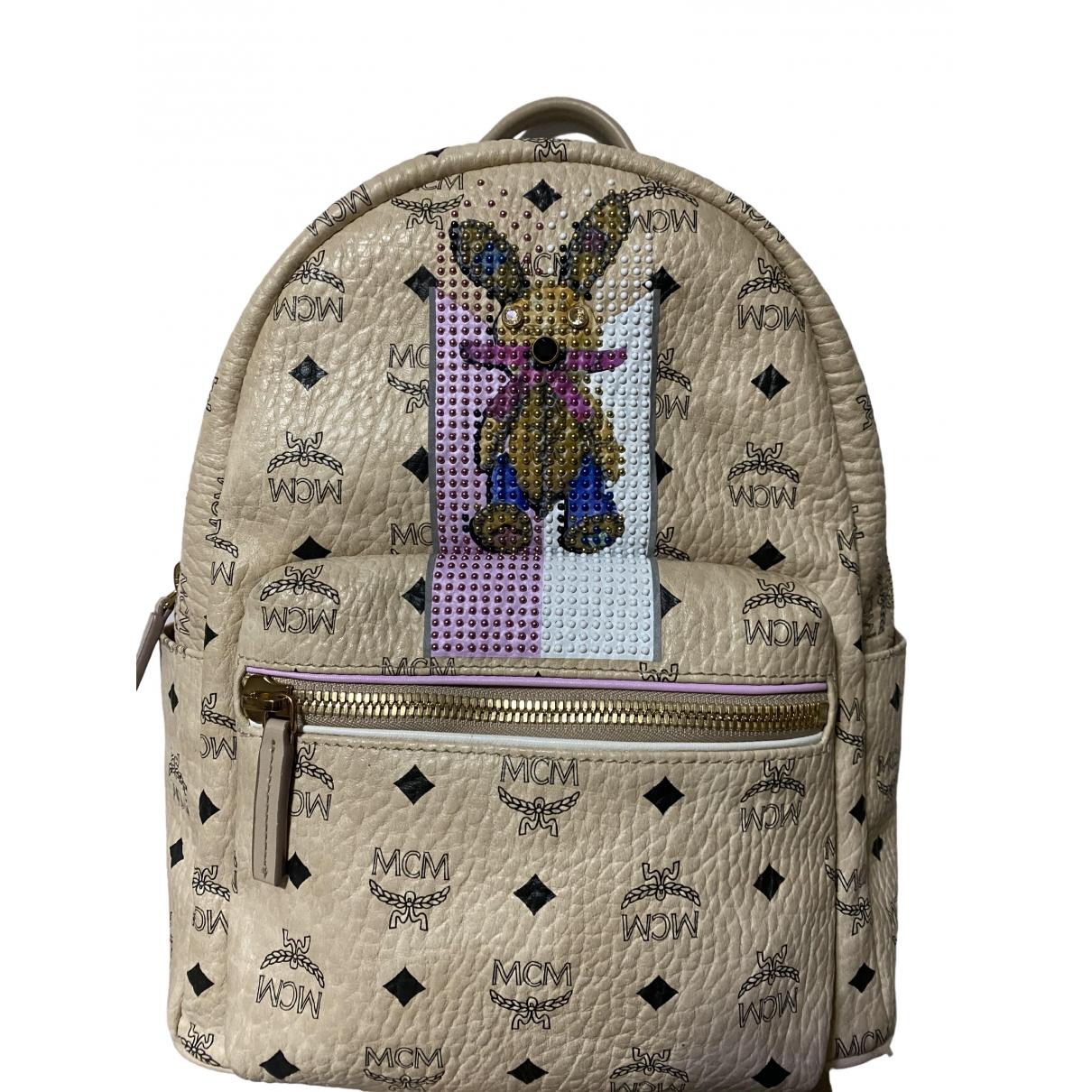 Mcm Stark Beige Leather backpack for Women \N
