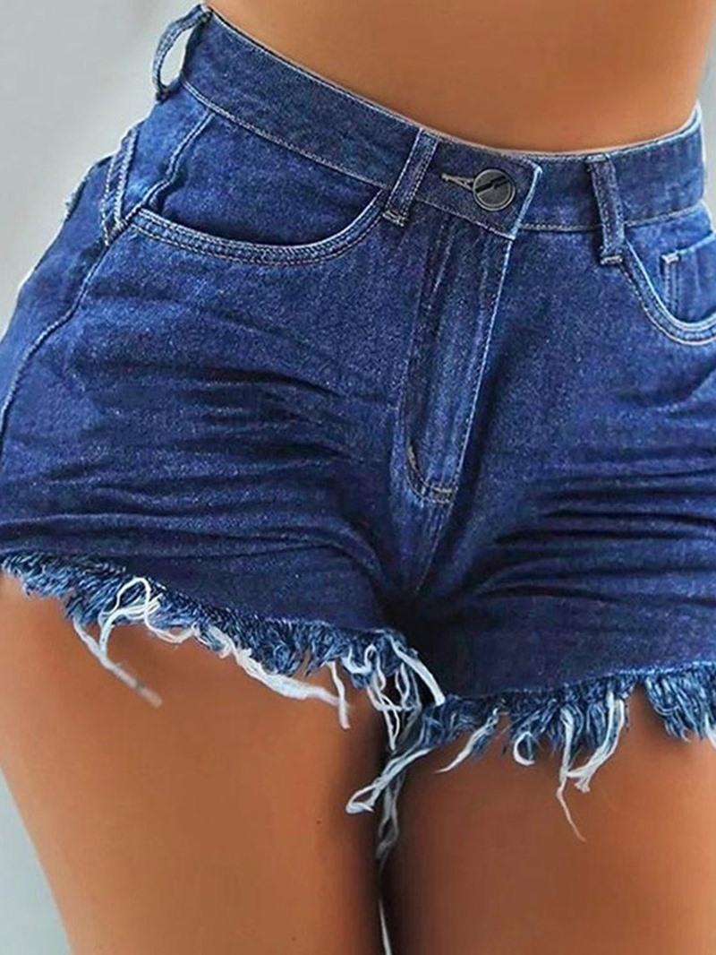 Ericdress Tassel Plain Zipper Slim Shorts