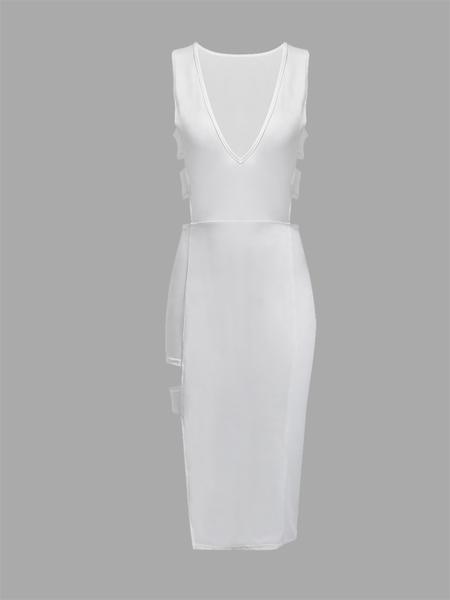 Yoins White Sleeveless Plunge V-neck Sexy Hollow Bodycon Dress