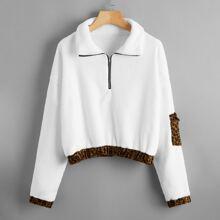 Teddy Sweatshirt mit Kontrast, Leopard Muster und halber Reissverschlussleiste