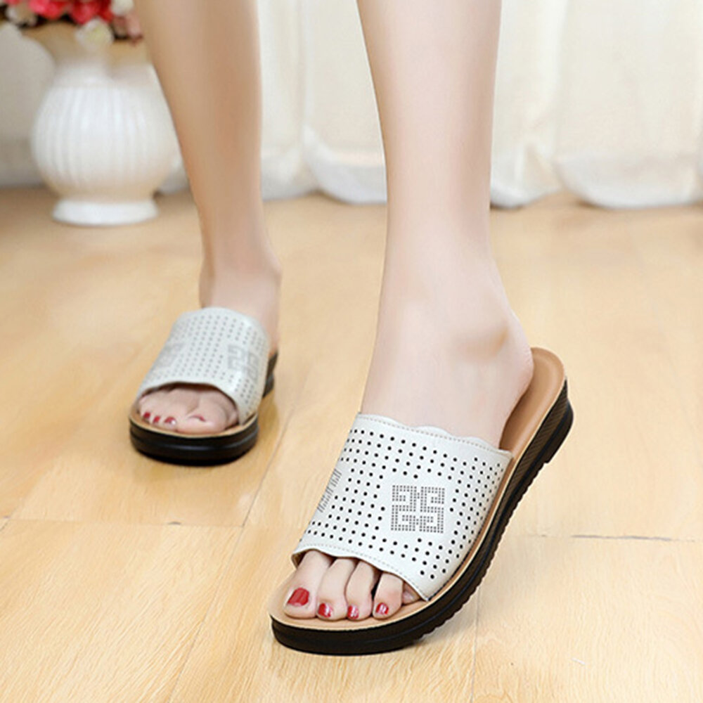 Women Comfy Open Toe Solid Color Leather Soft Slippers