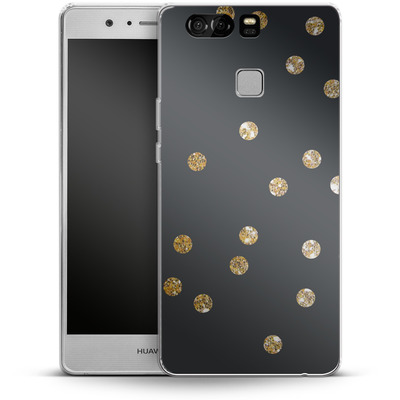 Huawei P9 Silikon Handyhuelle - Gold Dots von Khristian Howell