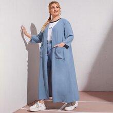 Plus Open Front Pocket Patched Kimono