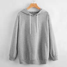 Letter Butterfly Graphic Print Back Hoodie