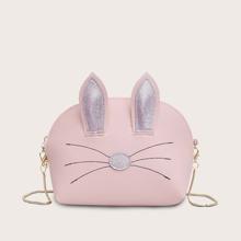 Bolsa bandolera de niñas con cadena con diseño de oreja de gato