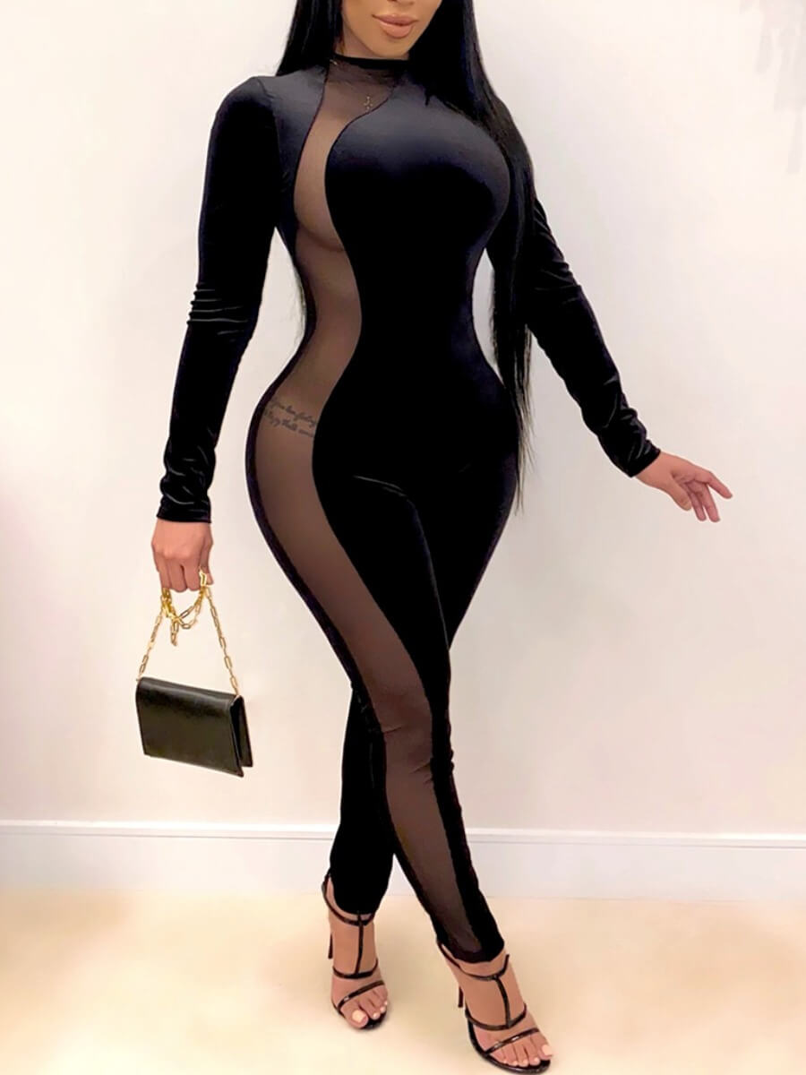 LW Lovely Sexy Mesh Patchwork Black One-piece Jumpsuit