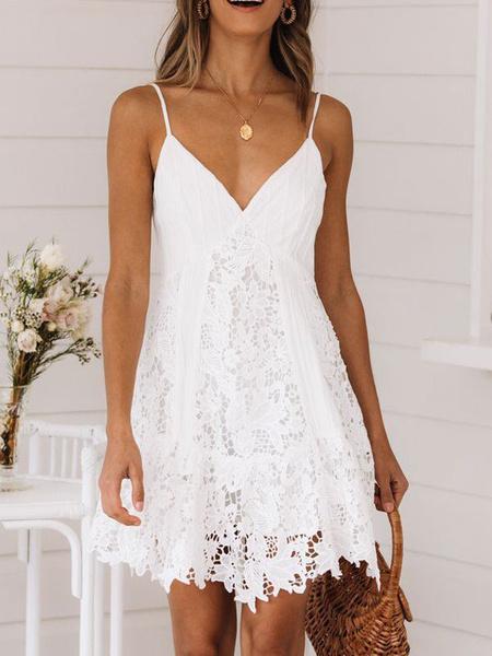 Milanoo Summer Dresses Lace Backless White Short Slip Dress