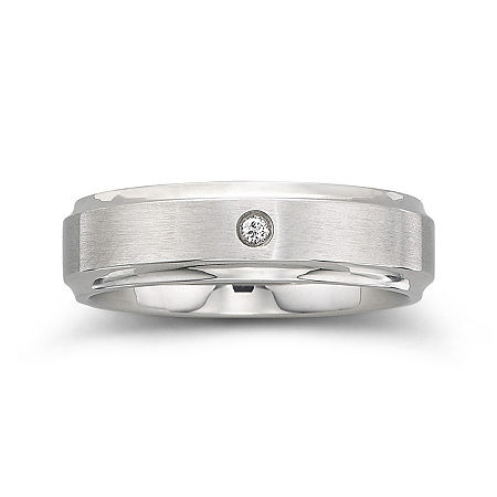 Personalized Mens Diamond-Accent 6mm Stainless Steel Wedding Band, 13 , No Color Family