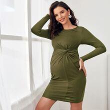 Maternity Twist Detail Bodycon Dress