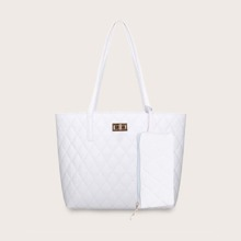 Double Handle Quilted Tote Bag With Purse