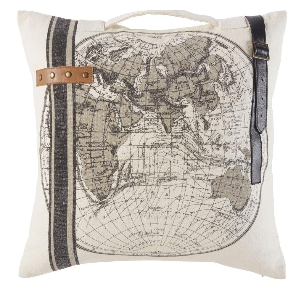 Kissen aus beigefarbener Baumwolle mit Weltkarten-Aufdruck und Lederdetails 45x45