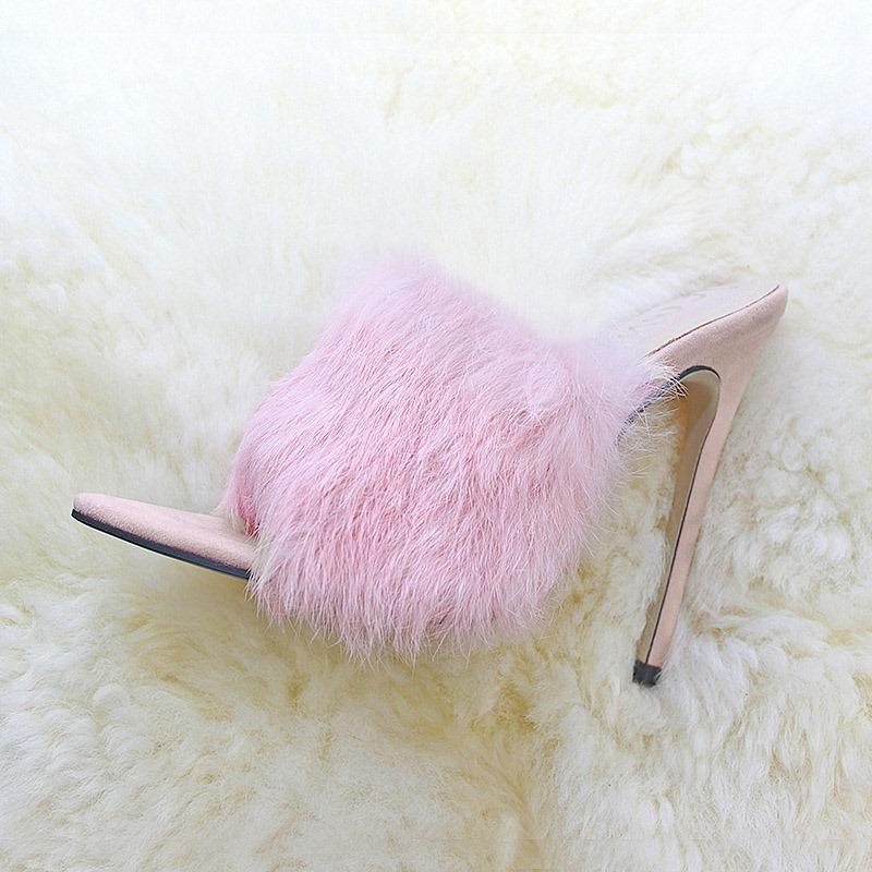 Ericdress Faux Fur Flip Flop Stiletto Heel Women's Mules Shoes