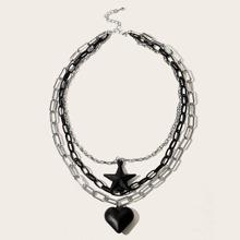 Heart & Star Layered Chain Choker