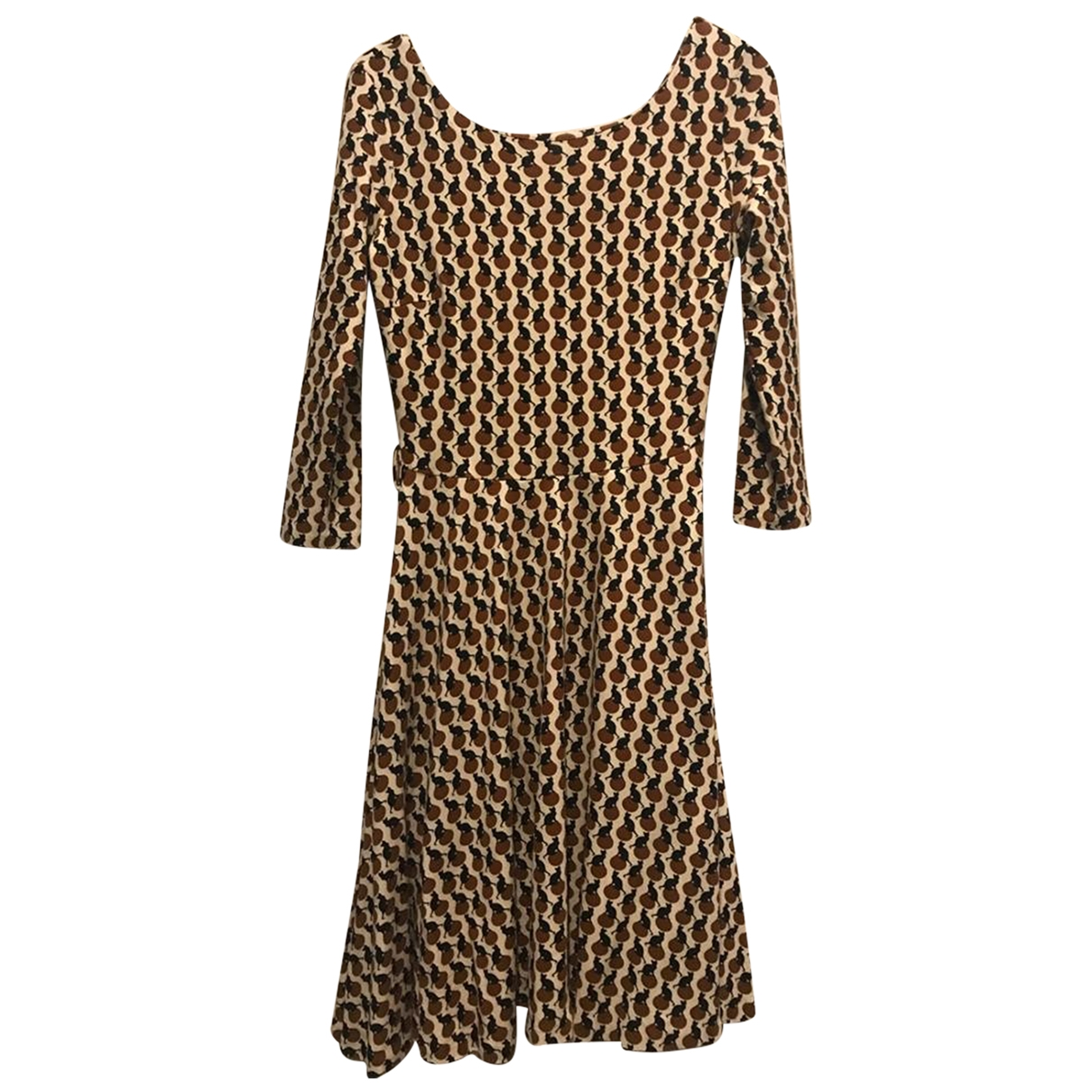 Mango \N Kleid in  Beige Viskose