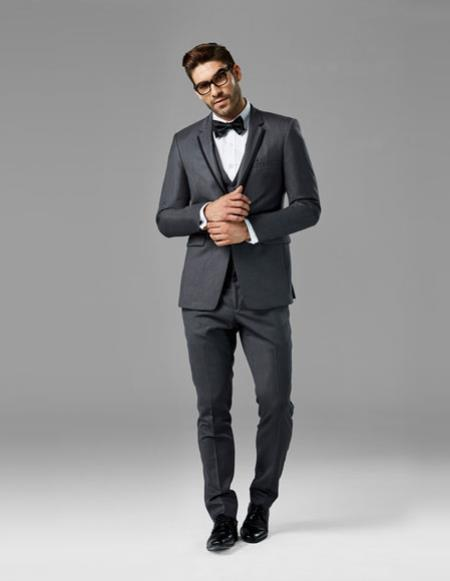 Mens Charcoal Gray best Suit buy one get one suits free vested Suit