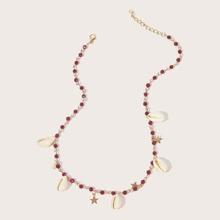 1pc Muschel & Stern Anhaenger Perlenkette
