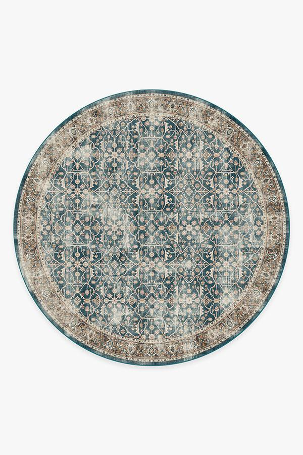 Washable Rug Cover & Pad | Celestine Teal Blue Rug | Stain-Resistant | Ruggable | 8' Round