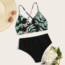 Floral Print Lace-up Back High Waisted Bikini Swimsuit