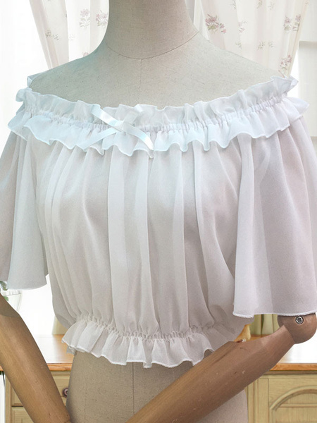 Milanoo Sweet Lolita Blouse Ruffle Bow White Chiffon Lolita Top