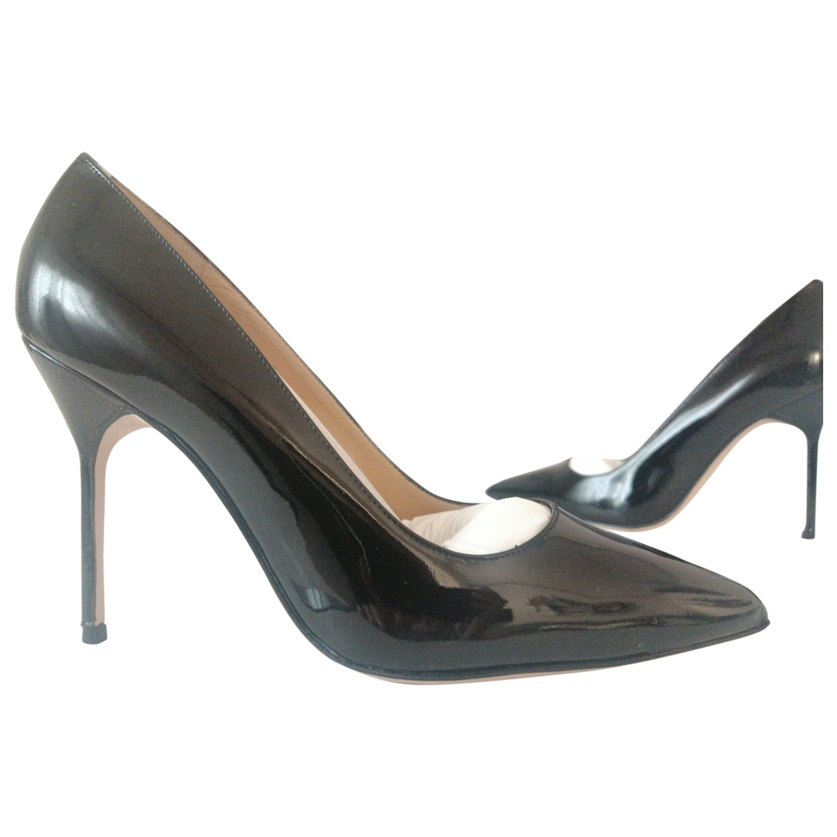 Manolo Blahnik \N Black Patent leather Heels for Women 37.5 EU