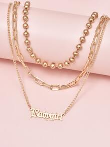 2pcs Letter Charm Layered Necklace