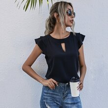 Keyhole Neck Tiered Layer Cap Sleeve Blouse