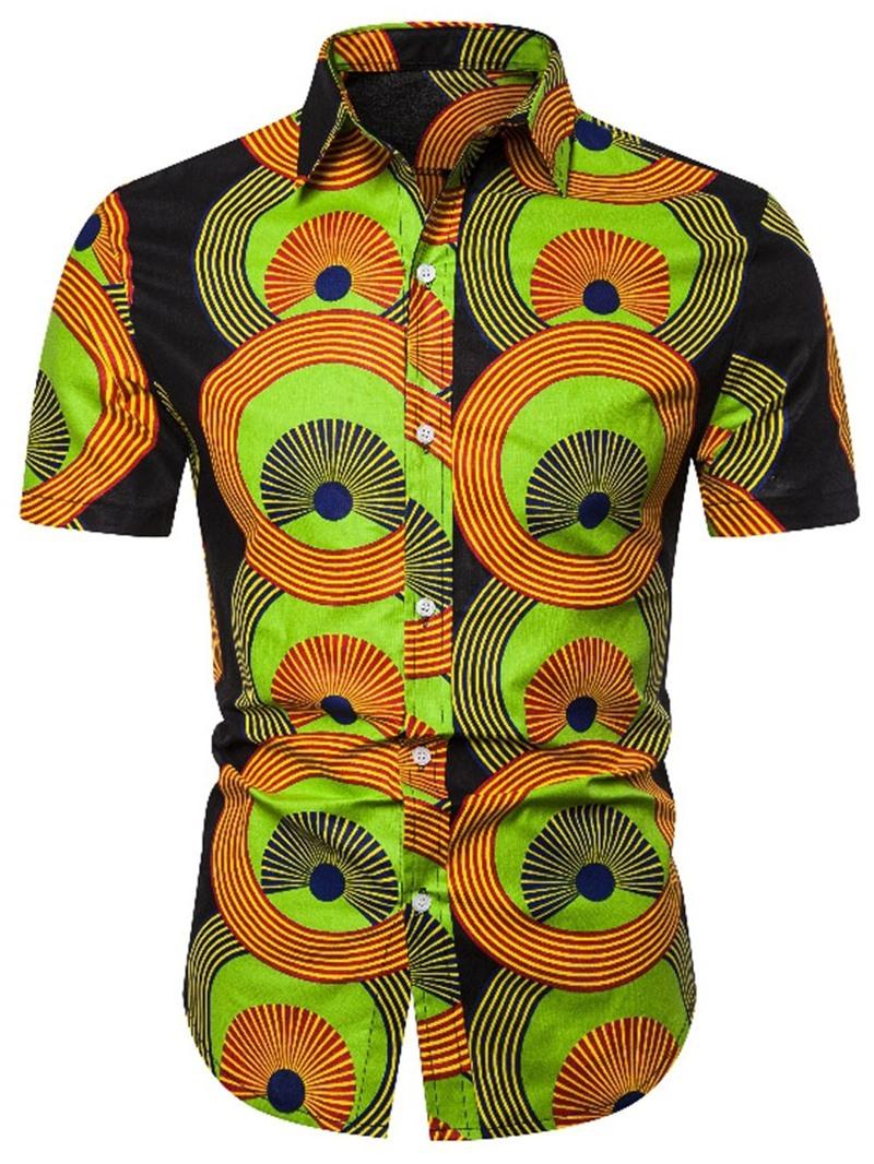 Ericdress Print Lapel Mens Single-Breasted Shirt