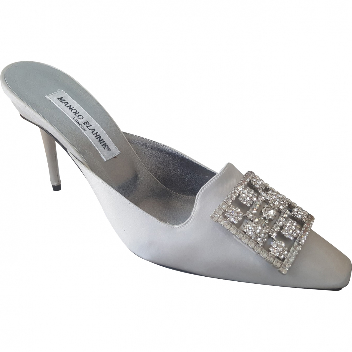 Manolo Blahnik \N Silver Cloth Sandals for Women 39.5 EU