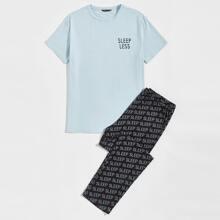 Schlafanzug Set mit Buchstaben Grafik