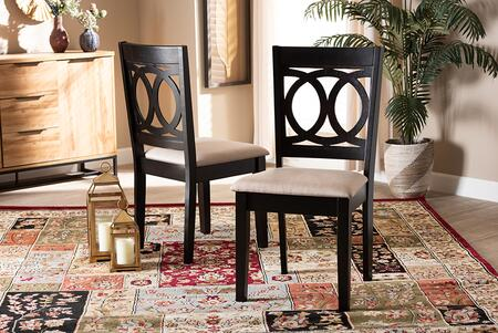 Lenoir Collection RH315C-SAND/DARKBROWN-DC-2PK Set of 2 Dining Chairs with Polyeter Fabric Upholstery  Contemporary Style and Rubberwood Frame