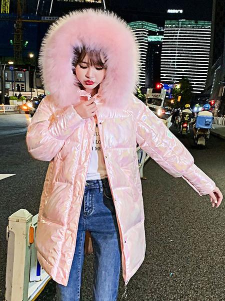 Milanoo Abrigos acolchados para mujer Cremallera con capucha mediana rosa Mangas largas Abrigo de invierno grueso clasico Prendas de abrigo