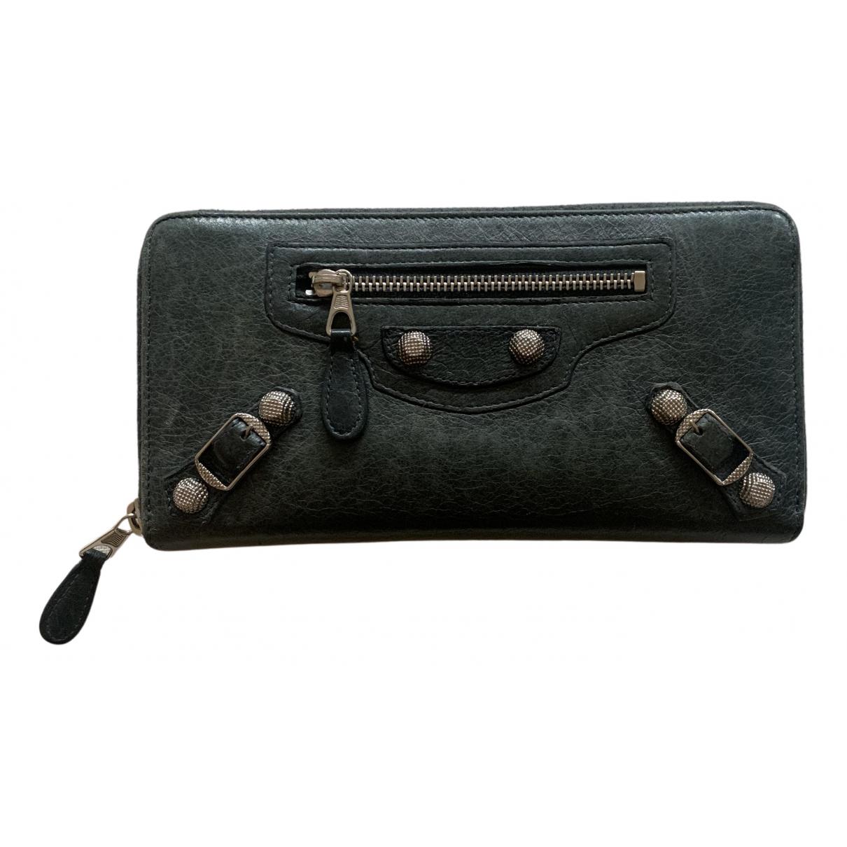 Balenciaga - Portefeuille   pour femme en cuir - anthracite