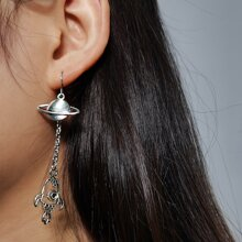 Planet & Missile Chain Earrings