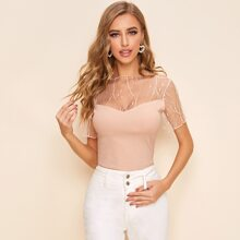Mesh Yoke Rib-knit Top